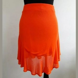 ZARA Skirt Size Small Orange Pleated Fit and Flare